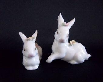 Porcelain Rabbits Pair