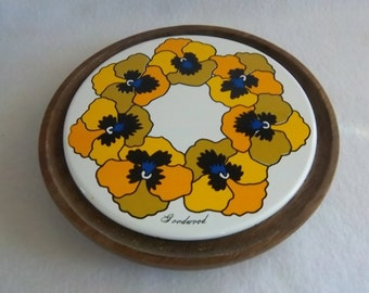 Sunny Cheese Board Ceramic Tile on Footed Wood Base signed Goodwood