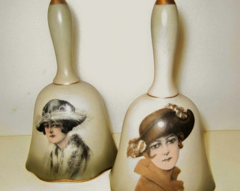 Pair of Porcelain Bells Early Century Women of Fashion, Collectable Bells