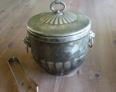 Vintage Silver Plated Ice Bucket With Lion's Head Handles - Tongs And Liner Included