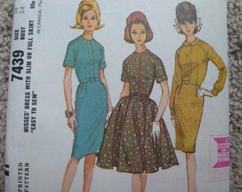 Vintage McCall's  Misses' Dress Pattern 7439  Size 14  Bust 34