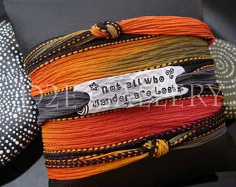 """D2E silk yoga wrap bracelet hand stamped """"Not All Who Wander Are Lost"""" charm, magnetic clasp"""