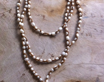 Pearl and suede lariat in amazing lengths!