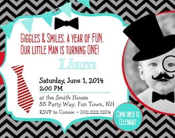 Mustache Little Man First Birthday Invitation Black Red Turquoise - Mustache Bowtie Tophat Tie Little Man Invite Boy Chevron - Top Hat  LMM1
