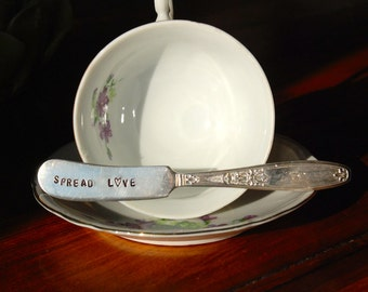 Vintage Silver Plated Hand Stamped Butter Knife- Spread Love