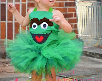 green monster tutu outfit , tutu , corset top , headband , oscar the grouch inspired , tutu outfit , birthday , halloween , pageant