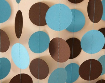 Blue & Brown Paper Garland, Boy's Birthday Party, Baby Shower, Birthday Decoration