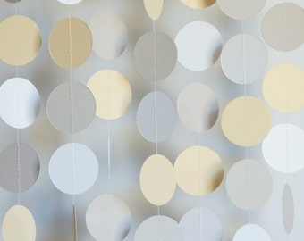 Wedding Garland, Neutral White, Light Gray and Ivory, Wedding Decorations, Bridal Shower, Baby Shower, 10 ft. long