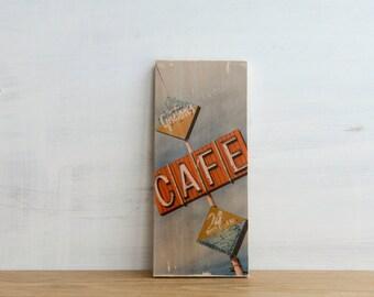 Cafe Sign Photo Transfer Mini - 'Gaston's' by Patrick Lajoie, vintabe sign, signage, Salton Sea,California