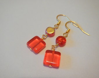 Square Red Earrings, in Gold