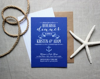 Nautical Rehearsal Dinner Invitations - Ocean-Inspired Rustic Modern Invites - Navy and White Beach Wedding Invites