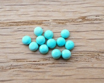 3mm turquoise smooth cabochon. Teal gemstone. Aqua mint green blue