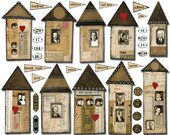 10 VINTAGE Handmade Houses & Homes -  Instant Printable Digital Collage Sheet
