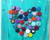 Heart Bottlecap Painting 12x12 Acrylic on Canvas Mixed Media Original Art