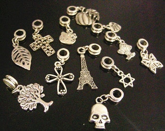 Wholesale 12pcs mix style antique silver finish metal Alloy European Dangle Beads-7685