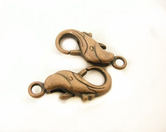 4pc antique copper finish 23x11mm metal lobster clasps-8409