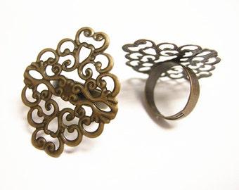 4pc antique copper fininish filigree adjustable ring shanks-9266