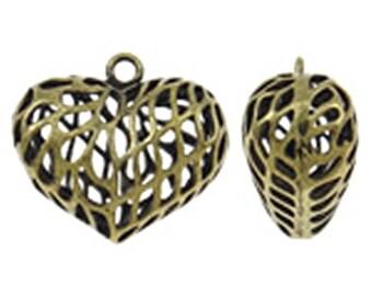 2pc 23x21mm antique bronze finish brass made hollow heart pendants-8607