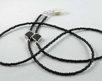 Black beaded eyeglasses chain with black and silver diamond accents