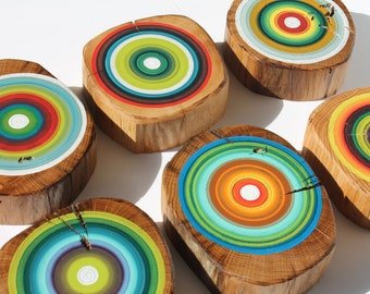Eco Friendly Hand Painted Tree Rings on Reclaimed Wood Wall Art made from Barn Beams - Set of 6    (6RWWABB1)
