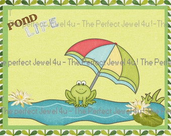 "Printable 5X7 Picture Frog ""Pond Life"" Digital Download"