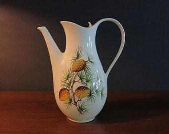 Vintage Eva Zeisel Pinecone Coffee Pot - Eva Zeisel Hallcraft Tomorrow's Classic - Hall China Coffee Server - Pine Cones & Branches