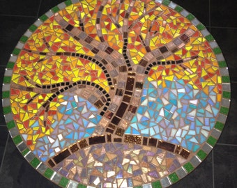 UPcycled mosaic round table. Original art design; Tree of life. Autumn colours.