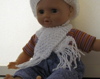 Knitted Dolls Beret and matching Scarf