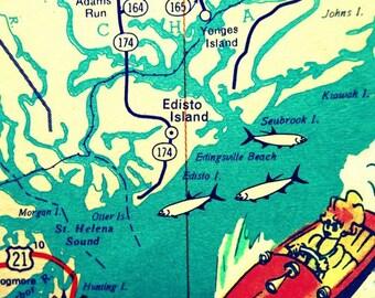 South Carolina map art, Edisto Island map, South Carolina map print, Beaufort Hunting Kiawah, Edisto Island Map, Sc map art, SC beaches art