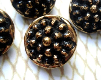 4 Gold Hand Painted Glass Buttons - 24K Gold Czech Buttons - Gold Beaded Glass Button