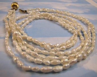 Vintage Fresh Water Pearls 3 strand Necklace Jewellery Jewelry