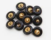 "16 Vintage 11/16"" Plastic Shank Buttons. Shiny Black and Gold, Touch of Copper. Roulette Wheel Center Design. Sewing, Art. Item 1532P"