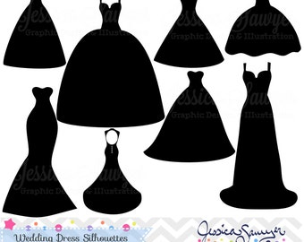 INSTANT DOWNLOAD, wedding dress clipart, silhouette clipart, for ...