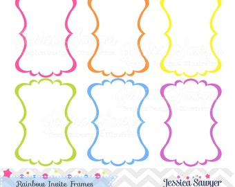 Rainbow Invite Frames, for Rainbow Party, Commercial use, Personal Use