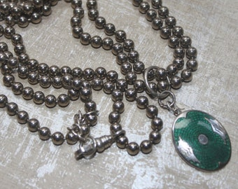 Vintage Green  Guilloche Enamel 1940's Pendant and Silver Vintage Metal Beaded Chain Double Beaded Necklace-TT Team