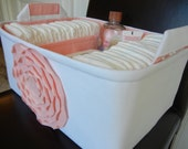 """Ex Large-Diaper Caddy-14""""x 10""""x 7""""(CHOOSE COLOR)Two Dividers-Fabric Storage Organizer-Baby Gift-""""Pastel Pink Rose on White"""""""