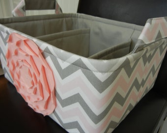 """LG Diaper Caddy(choose COLOR) 12""""x10""""x6""""Two Dividers-Fabric Storage Organizer-Baby Gift-Chevron-""""Pastel Pink Rose on Grey&Pink Mix Zigzag"""""""