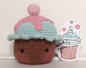 Crochet Blushing Cupcake - Amigurumi - Crochet Toy - Crochet Food - Crochet Decoration - brown, baby blue, pink