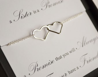 Linked Sterling Silver Hearts Sister Promise Necklace