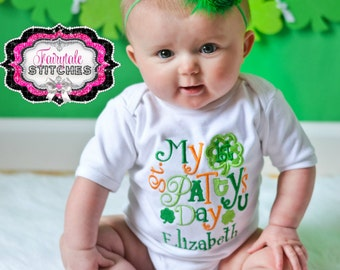 My First St. Patrick's Day Bodysuit or Tshirt with Name,Baby St. Patrick, 1st St. Patrick