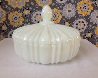 Anchor Hocking, Fire King, Covered Candy Dish, White Milk Glass -