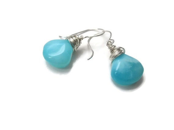 Huge Blue Peruvian Opal Teardrop Sterling Silver Earrings ... Pieces of the Sky