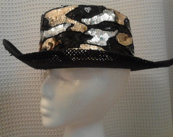 Vintage Cache'  Black Sequined Cowgirl Hat  ECS
