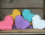 Valentine's Day Decor, SET OF 5 (FIVE), Conversation Hearts, Wood Hearts, Primtive Valentine, Rustic Valentine, Rustic Heart, seasonal decor