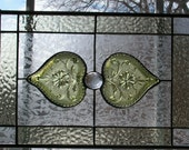 Olive Green Sandwich Glass Hearts set into Stained Glass Panel