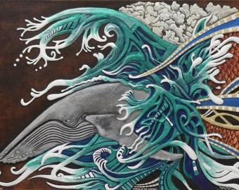 Dream of the Humpbacks  - Cast Paper - Large - Water - Humpback Whales - Wall art - Marine life