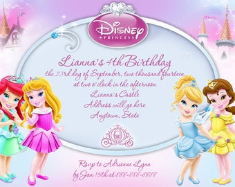 Disney Princess Toddler Digital  4x6 or 5X7 invitation