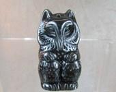 Black Obsidian hand carved fox pendant bead
