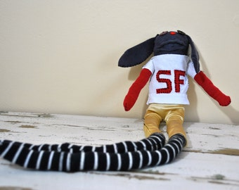 Unique Sock Animal Puppy, San Francisco 49er Football Player, Hand-Stitched, Made with all Reclaimed Clothing, OOAK, Hipster Plush Toy