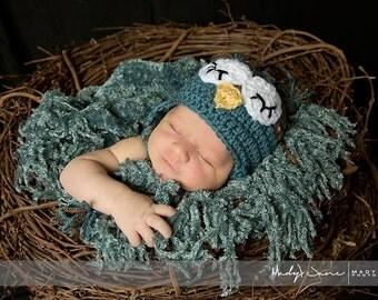 Sleepy Owl Hat - Crochet newborn hat - newborn boy owl hat - newborn girl owl hat